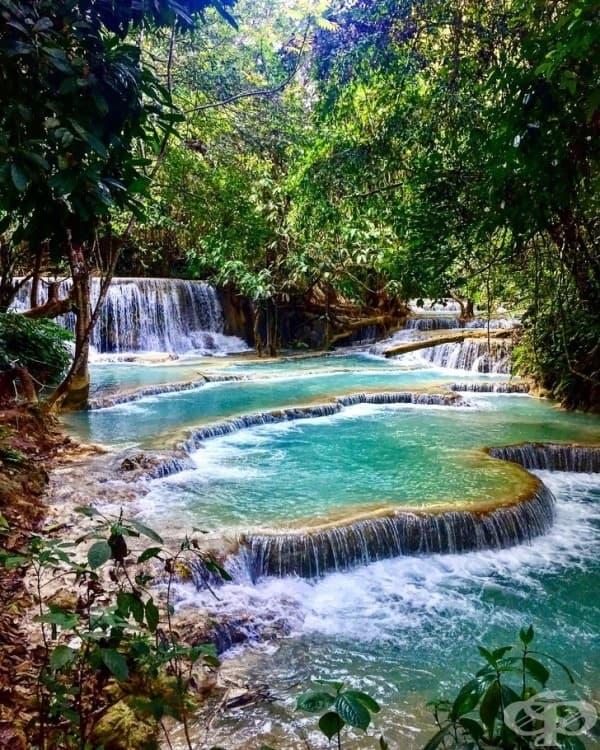 Водопад на 3 нива, Куанг Си, Лаос.