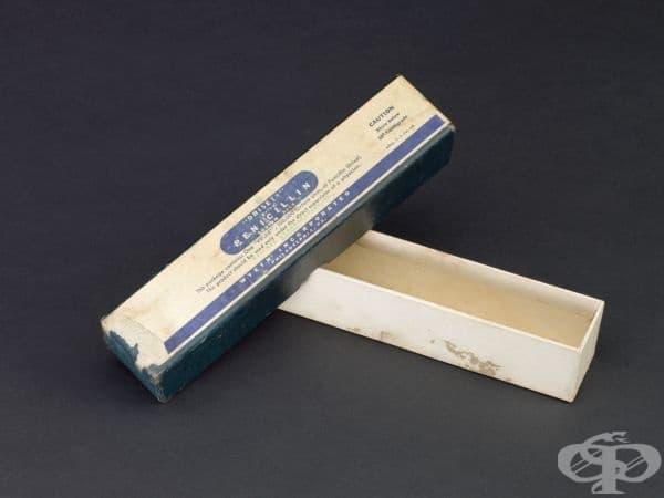 """Картонена кутия от 1945 година на марката пеницилин """"Driset"""""""