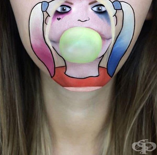 Момиче превръща устните си в анимационни герои с помощта на грим