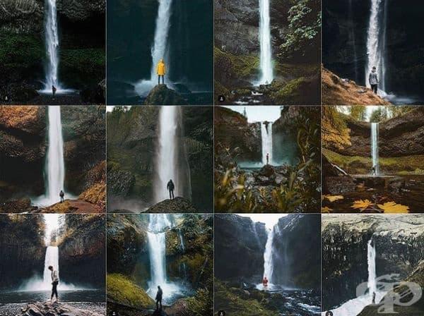 Сам човек пред огромен водопад.