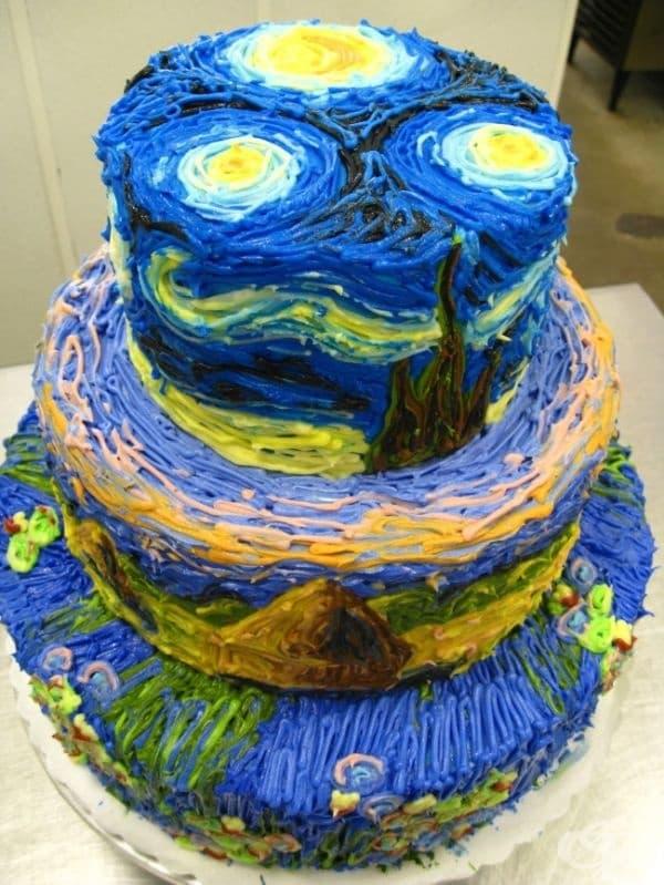 """Торта """"Звездна нощ"""" от Ван Гог."""