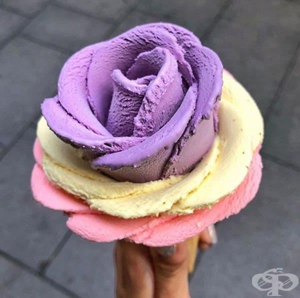 Сладолед – роза. Красиво и вкусно!