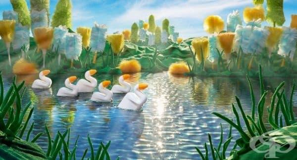Тоалетни патета плуват в езеро.