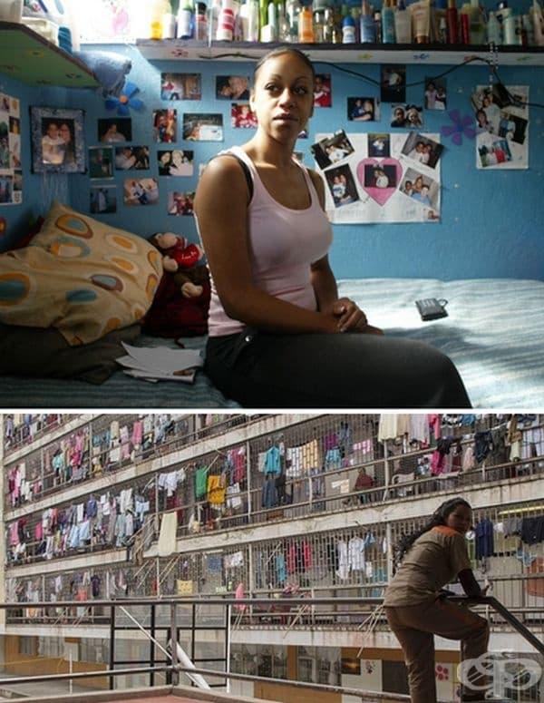 Затвор Ел Буен Пастор, Богота, Колумбия. Килиите са предназначени за 2 затворнички, но в момента се помещават между 10 и 20. Въпреки корупцията и насилията затворът се старае да хуманизира реда чрез конкурси за красота.