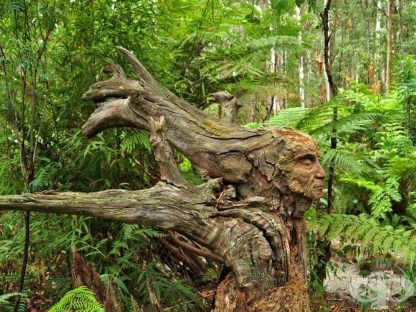 Дървена скулптура от Бруно Торфс.