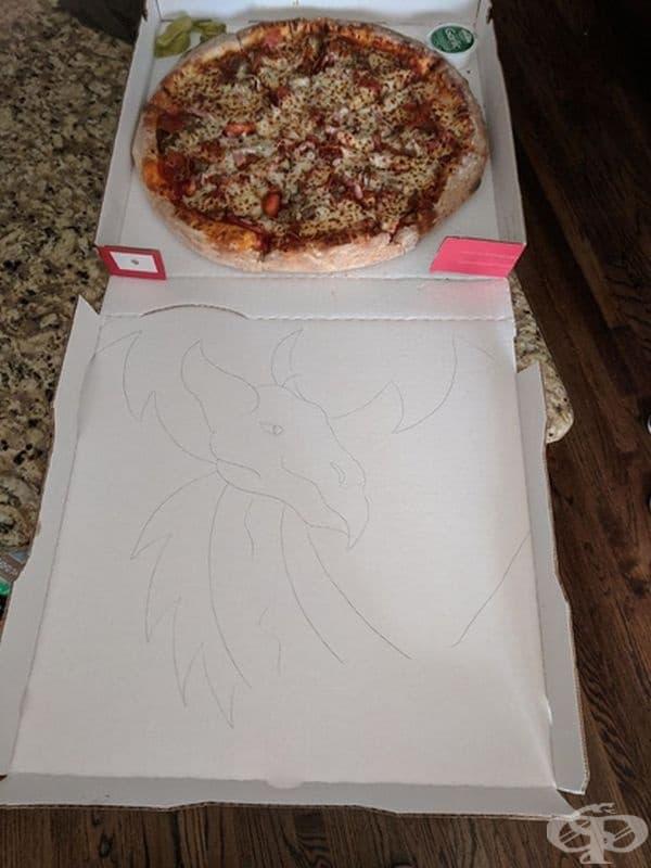 """""""При всяка поръчка на пица молих фирмата да ми нарисуват дракон. Най-накрая ме послушаха."""""""