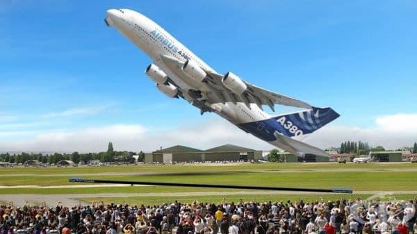 Вертикално излитане на Airbus A380.