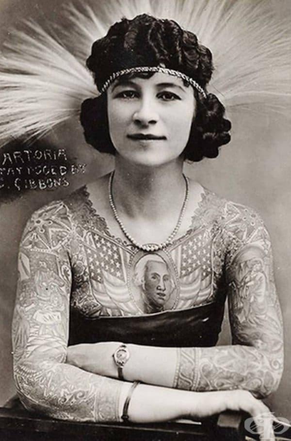 Атора Гибънс - жената, покрила тялото си с татуировки. Това е било странно за онези години.