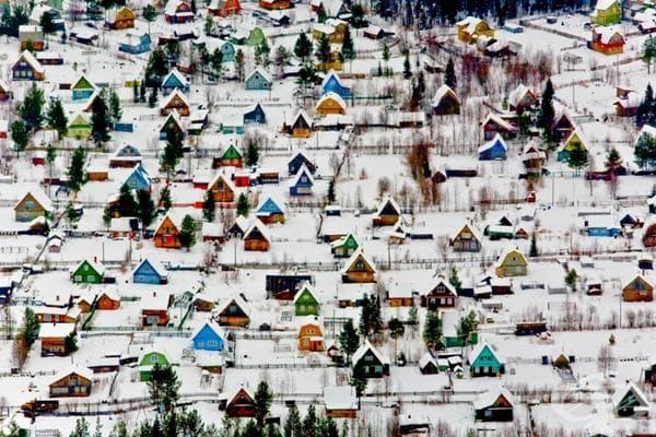 Курортно селище в близост до Архангелск, Русия.