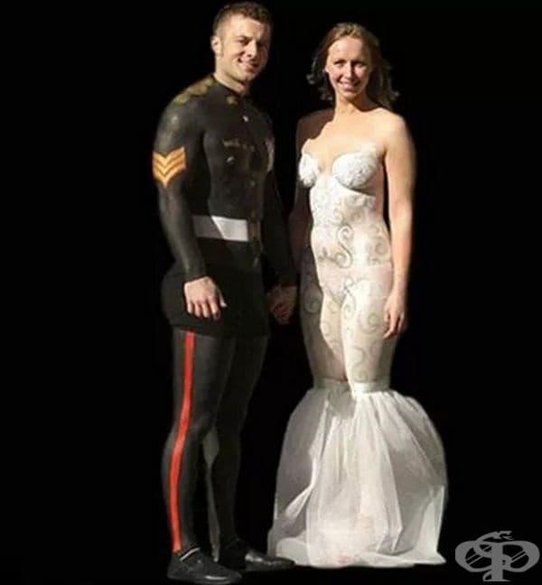 Булчинска рокля и костюм - бодиарт.