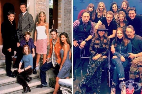 """""""Бъфи, убийцата на вампири"""", 1997 и 2019 г. През 2003 г. излиза последният епизод на филма, а 16 години по-късно 11-те актьори се появиха заедно по време на Wizard World Portland. Липсваха само Сара Мишел Гелар и Дейвид Бореанас."""