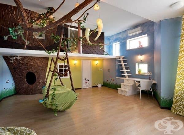 Джунгла. Такъв дизайн е чудесен за активните деца: много свободно пространство и места за изкачване.