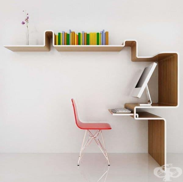 Ако нямата място за офис  в апартамента си, то може да пробвате подобно бюро, което предлага място за лаптоп, книги и документи и определено заема по-малко пространство.