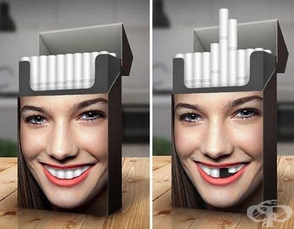 Интересно предупреждение за опасностите от тютюнопушенето.