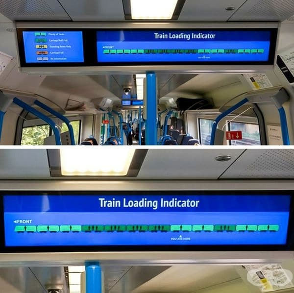 Информационно табло във влака, което показва колко е пълно превозното средство.