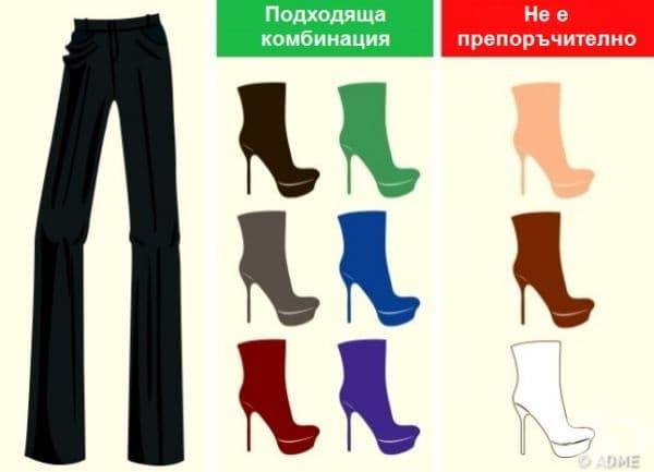 Счита се, че черното подхожда на всичко, но не всичко подхожда на черното. Бялото и кафявото не са добър избор. По-добре заложете на цветна обувка, ако искате да създадете интересна визия.
