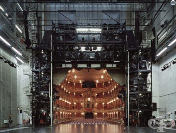 Театър с поглед от края на сцената към публиката.
