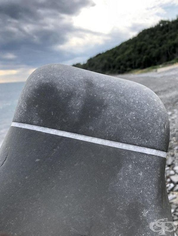 Ивицата от кварц идеално разделя камъка на две части.