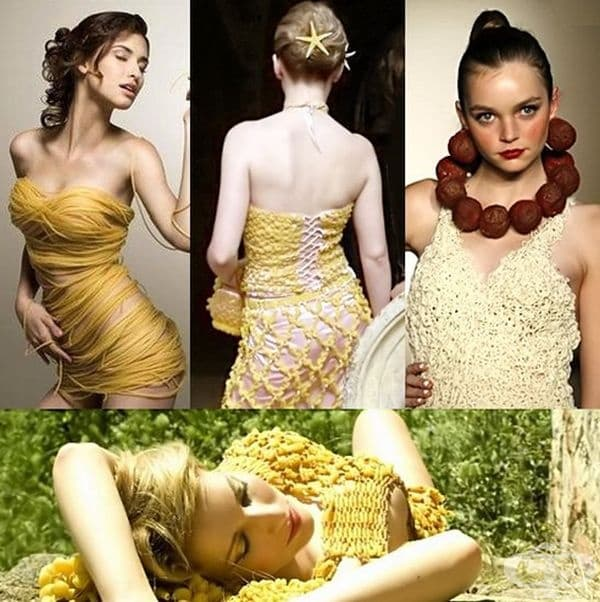 На тези изображения: рокля от спагети, пола и потник от макарони, рокля от юфка с огърлица от месни топчета.