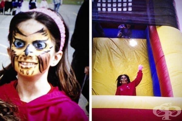 Това момиченце е с нарисувано лице и се спуска по батут. На някои хора им напомня на Майкъл Джексън, но за други си е доста плашеща.