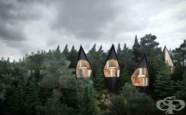 """Проектът е замислен като """"забавяне"""" - форма на туризъм, където природата и интеграцията на архитектурата в нея играят основна роля."""