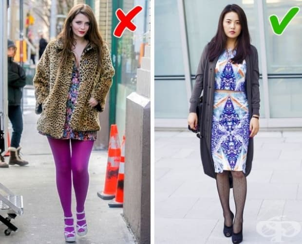 Само ученичка може да си позволи да носи такива ярки чорапогащници. Жените, които носят този вид облекло, могат да изглеждат комично.