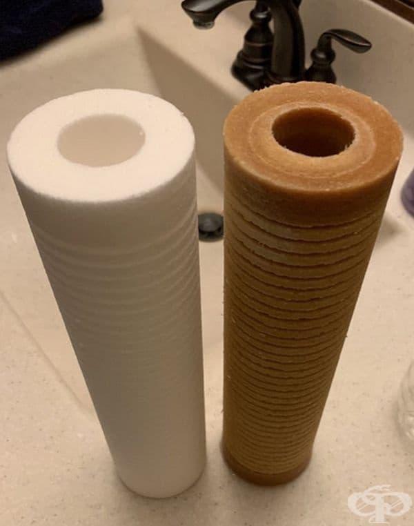 Отляво: нов воден филтър. Вдясно: използван 3 месеца.