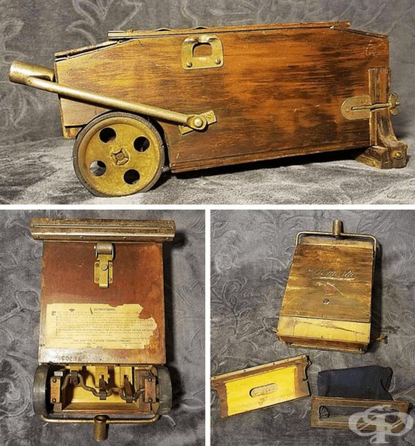 Този модел е изработен през 1910 г. и на външен вид прилича на модерните прахосмукачки.
