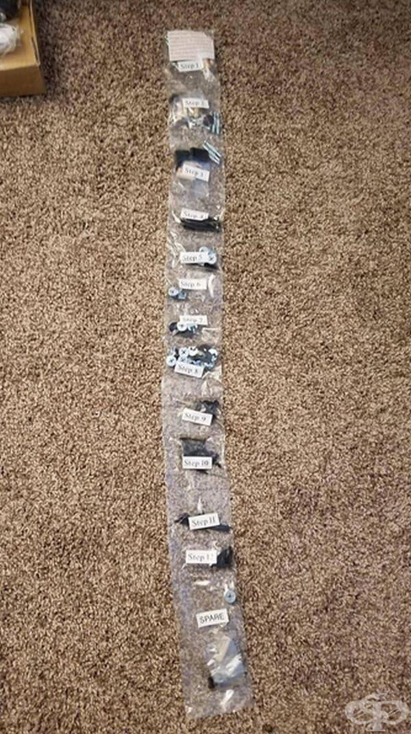 Крепежни принадлежности за маса, разпределени не по вид, а по ред на сглобяване.