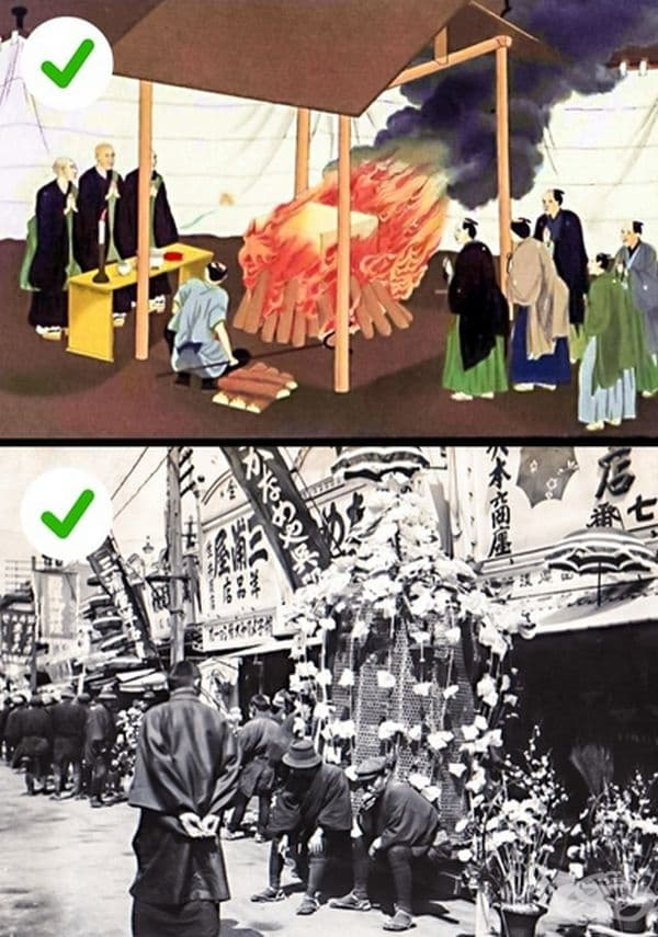 Мит 3. Траурният цвят е бял. Така както в Европа и в Япония цветът за траур е черен. Доказателство за това са гравюрите и старите снимки.