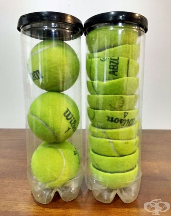 Разрязването на топките за тенис ви позволява да съхранявате по още една във всяка и по този начин да спестите пространство.