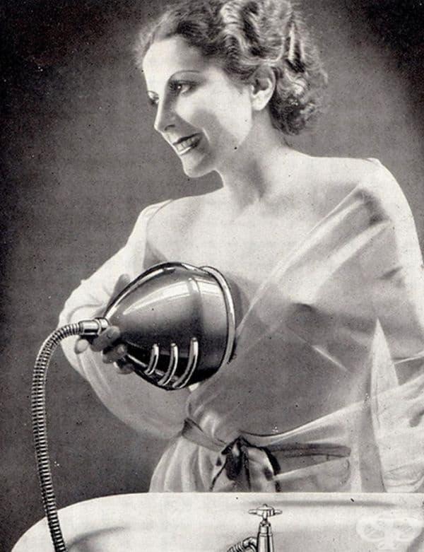Реклама на воден масажор за гърди, 1930 г.