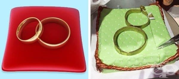Торта за сватба - халки върху възглавница.