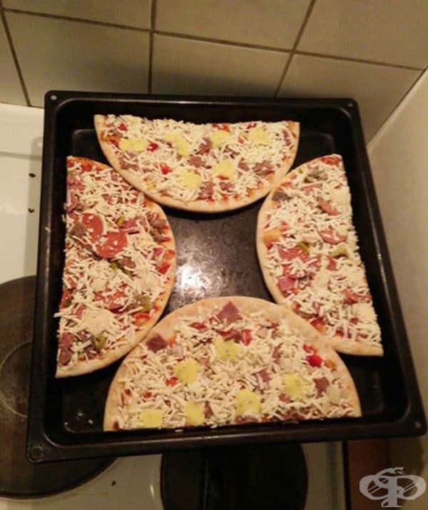 Вижте как да поместите голяма кръгла пица в правоъгълна тава. Дори две.