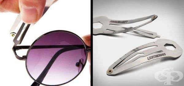 Фиба за коса с функция и на гаечен ключ, линийка и отвертка.