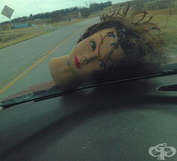 """""""Докато си говорихме в автомобила, на предното стъкло падна глава на кукла от предния автомобил. Беше стряскащо."""""""