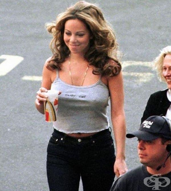 """Марая Кери на снимачната площадка за филма """"The Bachelor"""" през 1999 г."""