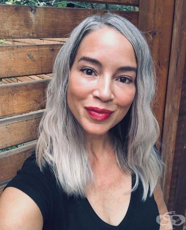 """""""Обичам сивата си коса в комбинация с червено червило. Не бих я боядисала повече."""""""