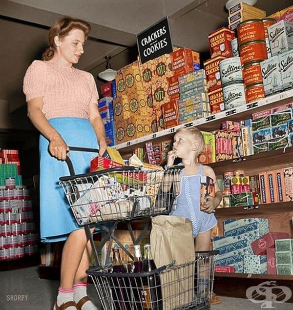 Цветна снимка от магазин за хранителни стоки Greenbelt, Мериленд, 1942 г.