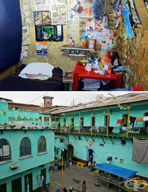 Затворът в Сан Педро, Ла Пас, Боливия. Повечето затворници живеят в строги условия в килия за 5-ма. Редът вътре от избрани лидери. Най-заможните могат са в килии с телевизор, вана. Много от тях живеят със семействата си. Кокаинът се произвежда вътре.