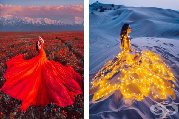30 снимки на прекрасни момичета в рокли на фона на красиви места - изображение