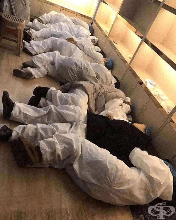 Снимка на заразени медицински специалисти, които са изпаднали в тежко състояние и не могат да се погрижат за себе си и болните в заведението.