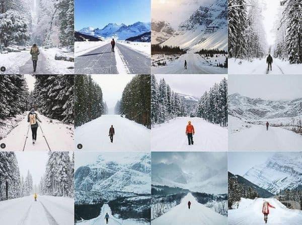 Лице в средата на снежен път