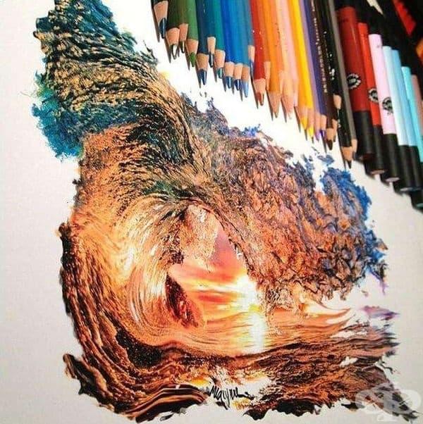 Залез през вълна, създаден само с цветни моливи.