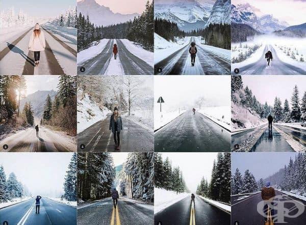 Лице, което стои в средата на зимен път.