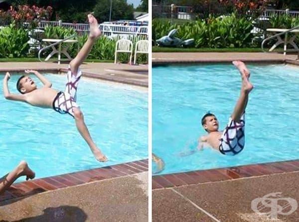 Така изглежда непредвидено падане в басейна.