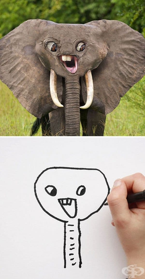 Баща показва как биха изглеждали животните според детските рисунки на сина му