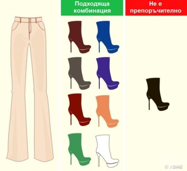 Панталони с телесен цвят. За този цвят подхождат светли или ярки цветове обувки, но в никакъв случай черно. Това създава твърде рязък контраст.