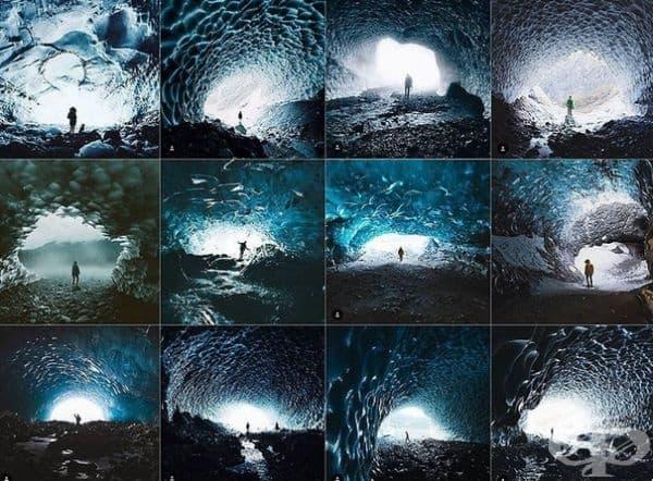 В центъра на ледена пещера.