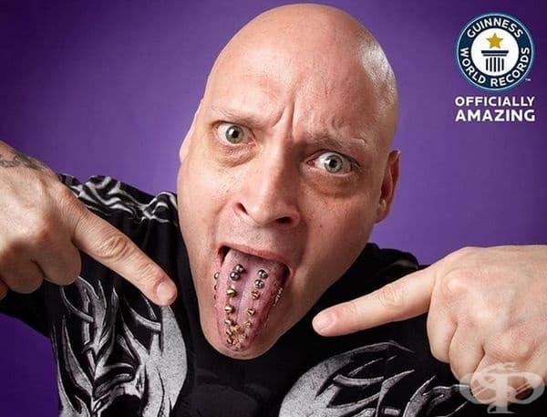 Франк Ваца от САЩ – човекът с най-много пиърсинги на езика си – 20 бр.